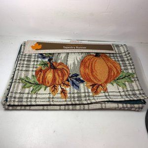 "Fall Thanksgiving Tapestry Table Runner 68"" x 13"""